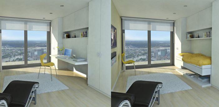 Bed in plafond ruimte op de vloer klein behuisd - Opklapbaar bedplafond ...